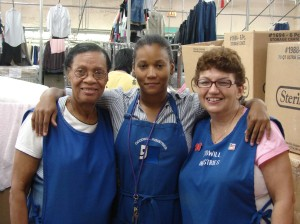 Goodwill's housewares team, from left to right: Jane Jules-Louis, Laura Nunez, Marion Reynolds.