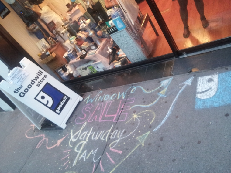 window sale sidewalk chalk art