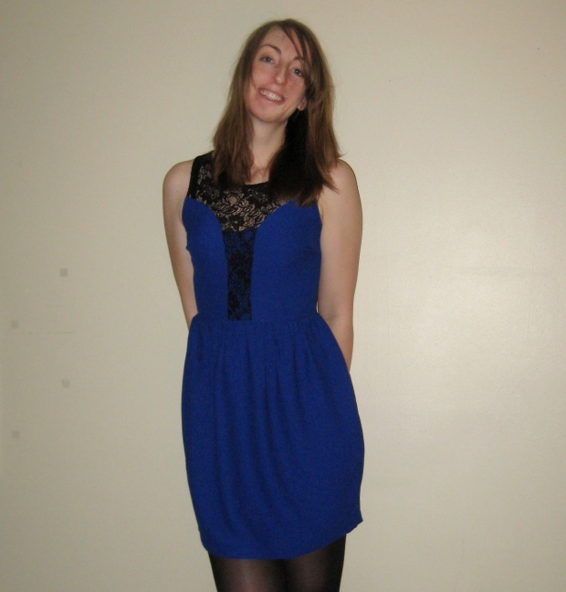 Cobalt blue dress with black lace