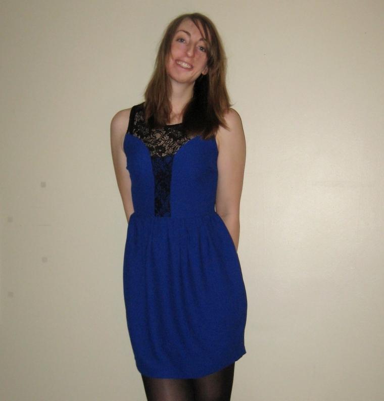 Cobalt blue dress with black lace