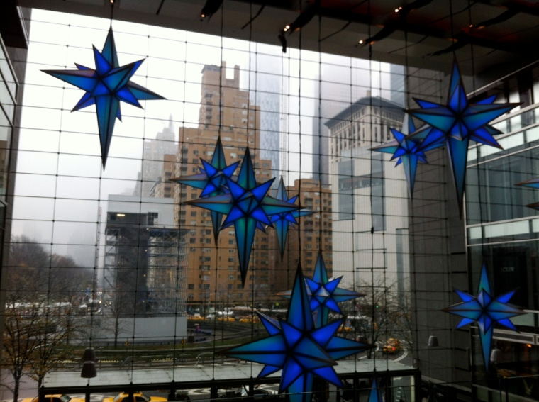 Time Warner Building hanging blue glass stars