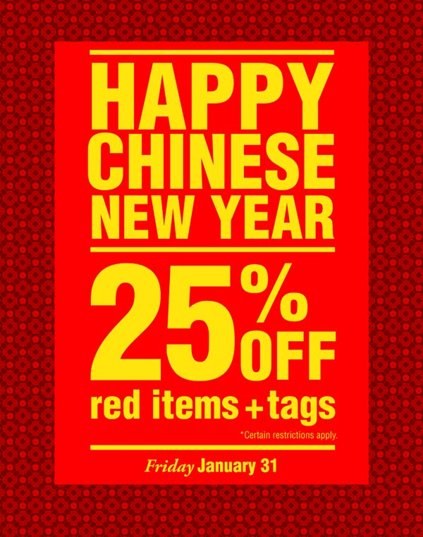 25% off red items and tags January 31