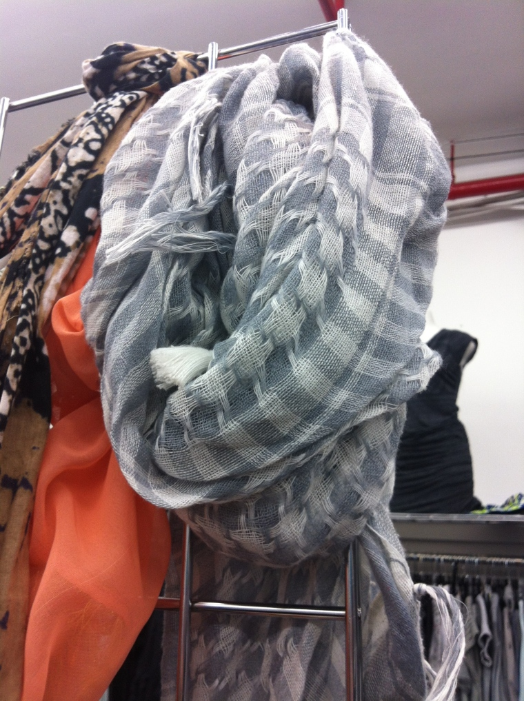 textured gray and white scarf