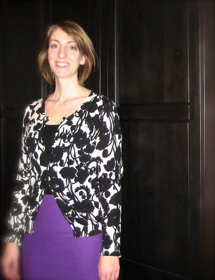 bright purple skirt black tank and print cardigan