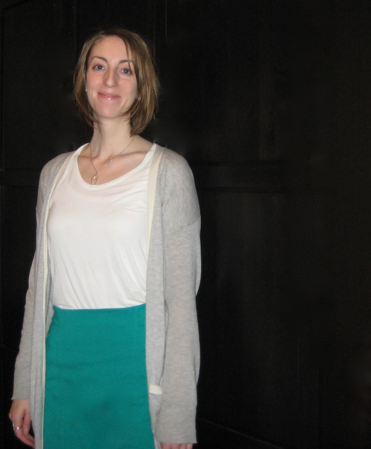 vivid green skirt mixed with grays, creams and whites