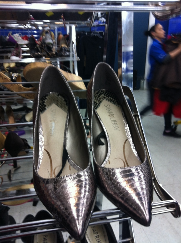 metallic snakeskin pumps