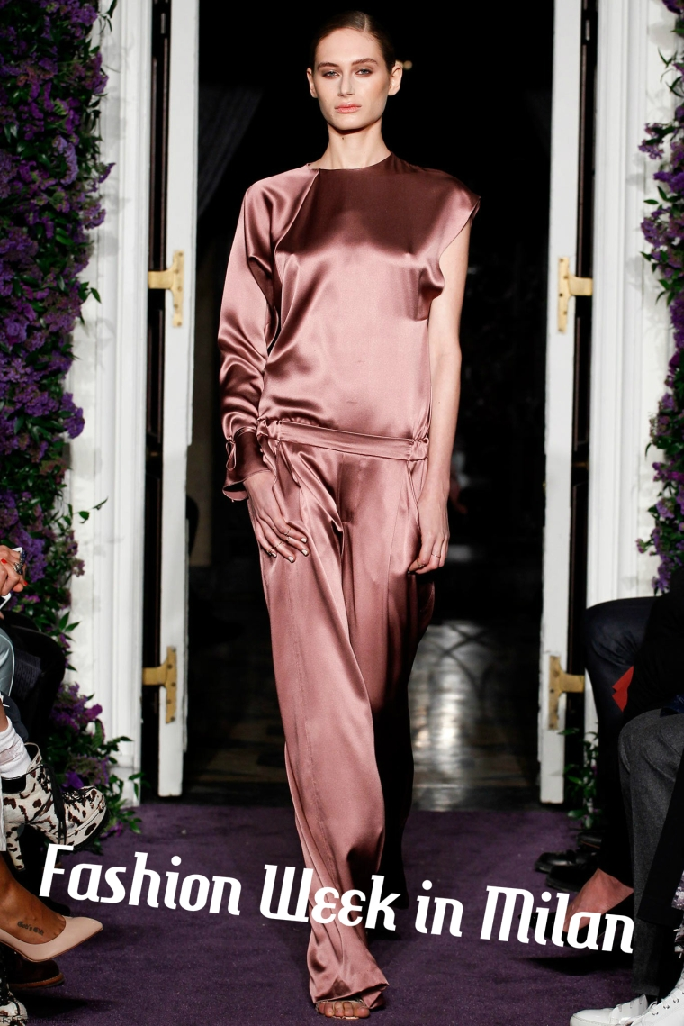 silk pj's at Milan Fashion Week