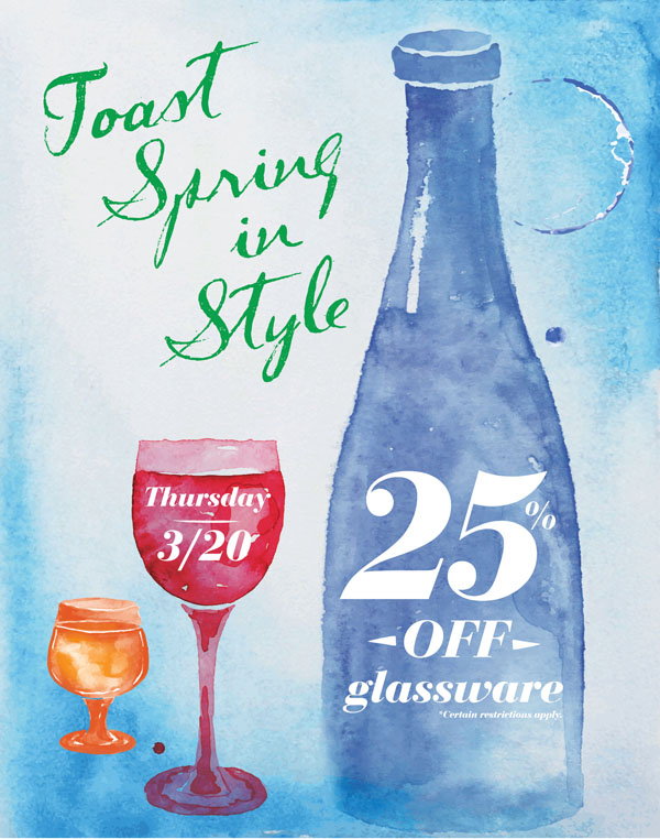 25% off glassware March 20