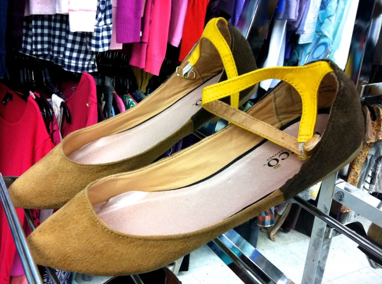two-tone suede flats