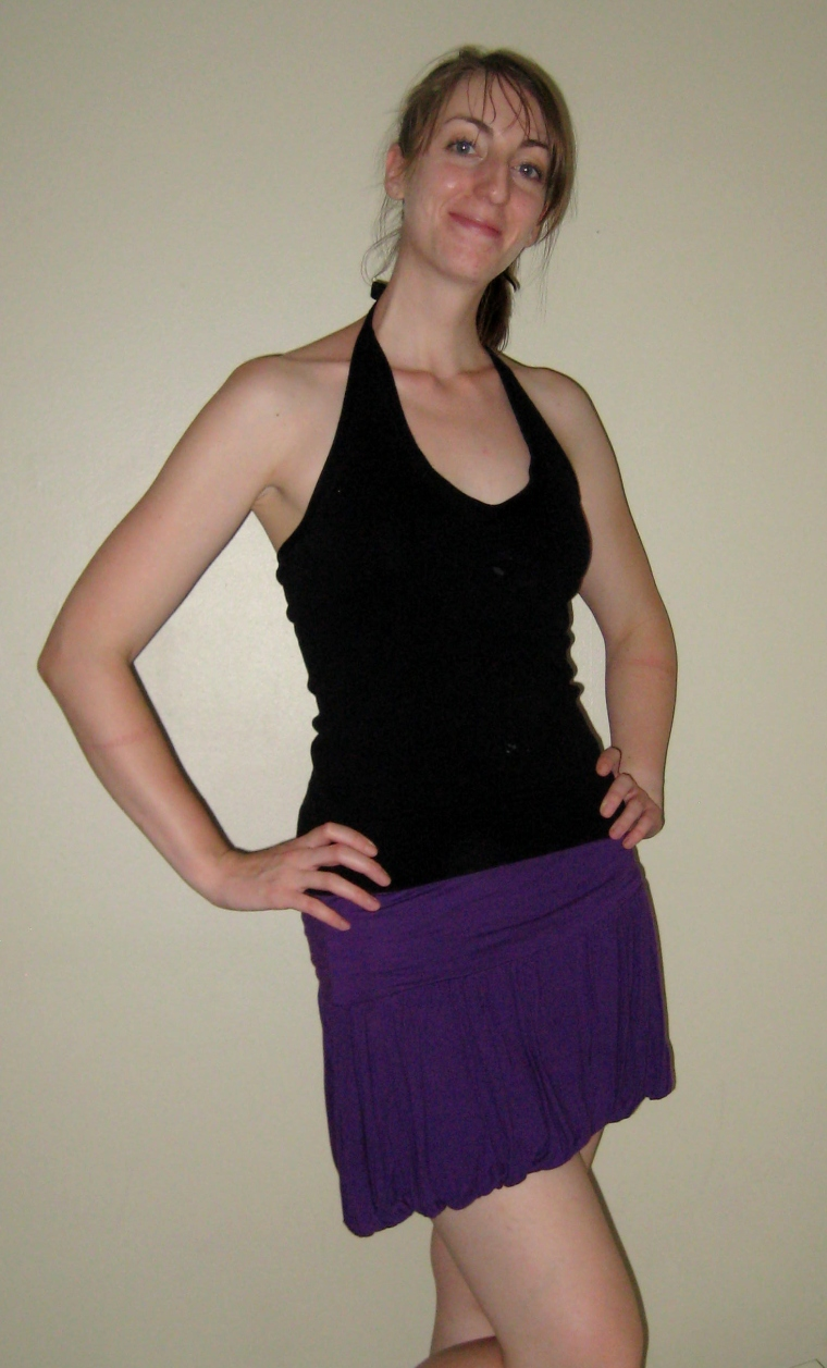 black tanktop with purple skirt
