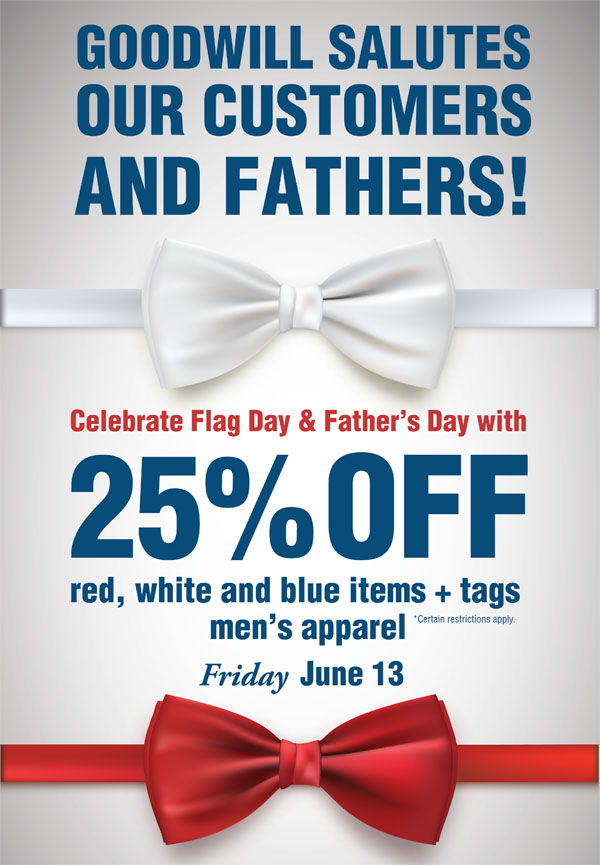 25% red white and blue items and men's apparel