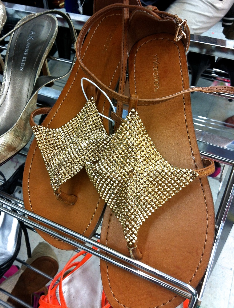 diamond shapped gold shimmering flat sandals