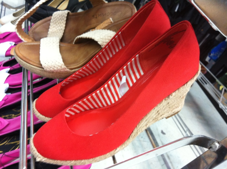 bright red espadrilles