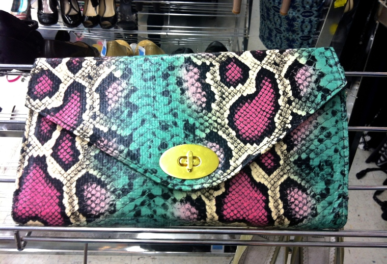 technicolor animal print clutch