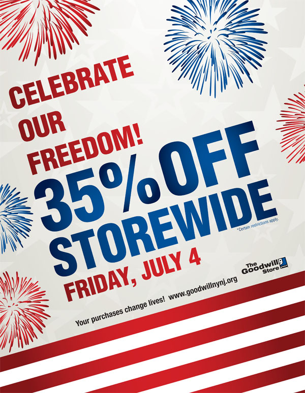 35% off storewide for July 4