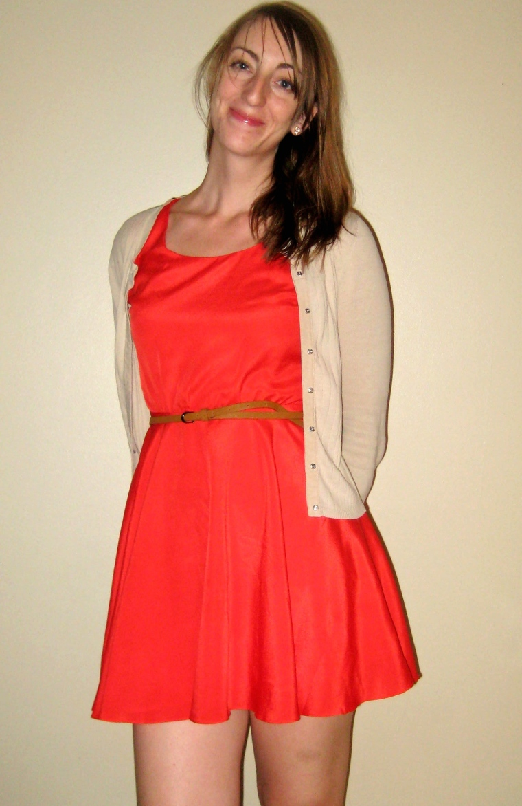 bright coral dres with neutral cardigan