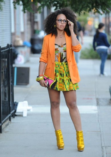 Elle Varner wearing a $4 blazer from Goodwill