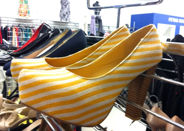 yellow and white striped platform pumps with wooden heel