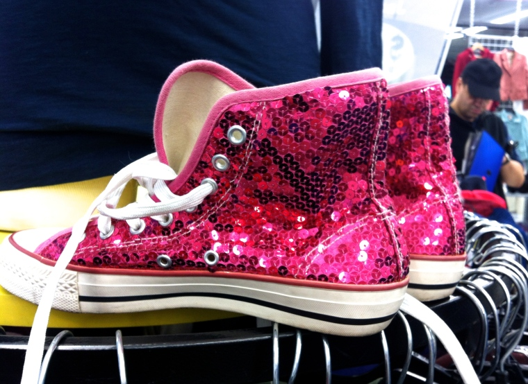 pink sequin shoes