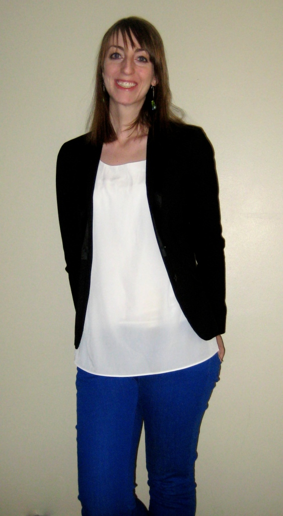 black blazer, white flowy top, blue pant