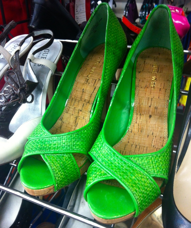 lime green cork heels