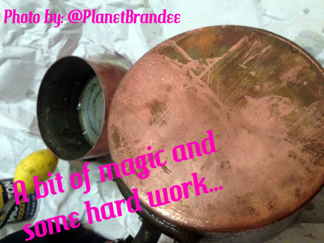 copper pan half cleaned