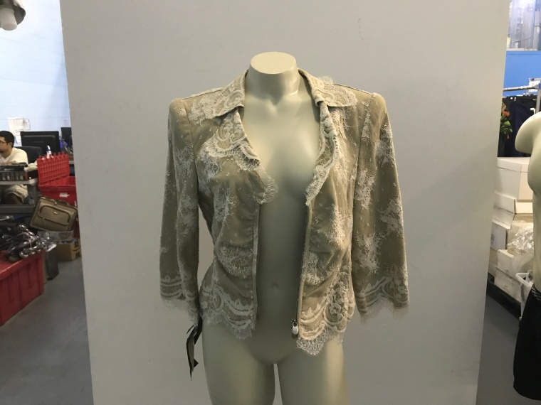 Giorgio Armani Beige Leather and Lace Jacket