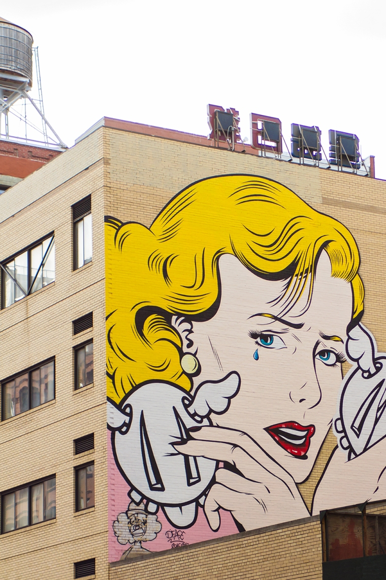 Pop Art Crying Girl Mural
